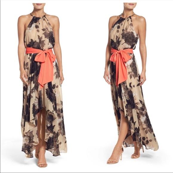 Eliza J Belted Chiffon Floral Print Maxi Dress